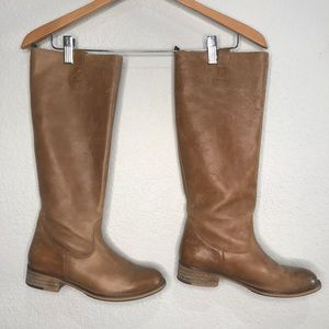Aldo tall leather cognac pull on riding boots